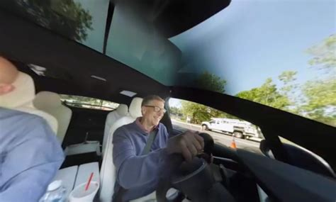 Bill Gates & Seveneves Author Cruise & Chat In Tesla Model